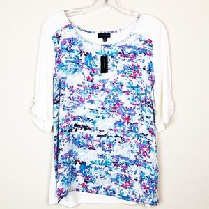 NWT The Limited Floral Pattern Short Sleeve Top XL